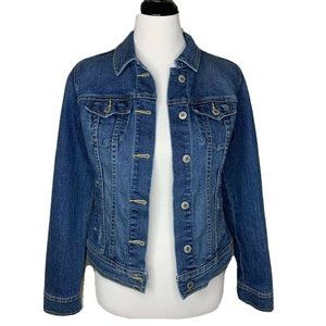 Old Navy Womens Jean Jacket Blue Buttons Flap S
